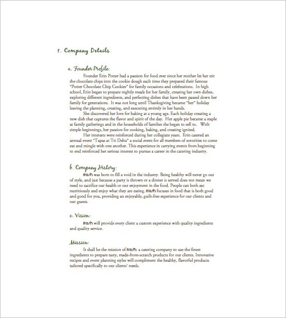 ... Profile Format Catering Business Plan Template U2013 13+ Free Word,  Excel, PDF Format   Company ...  Business Profile Format In Word