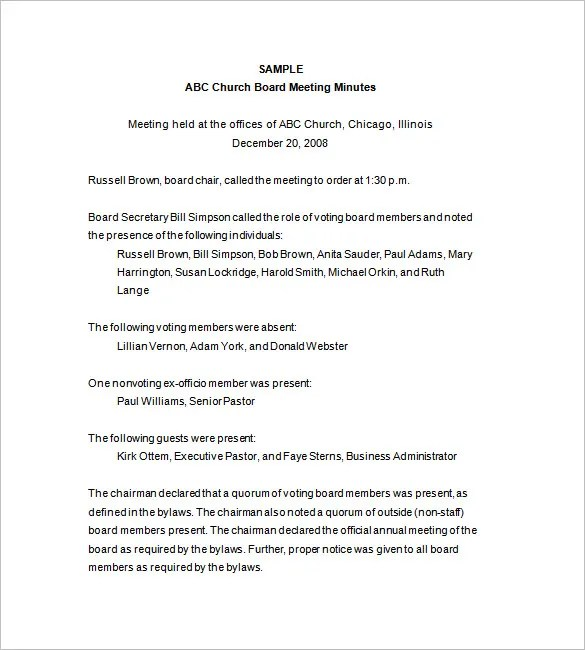 Board of Directors Meeting Minutes Template -14+ Word, Excel, PDF