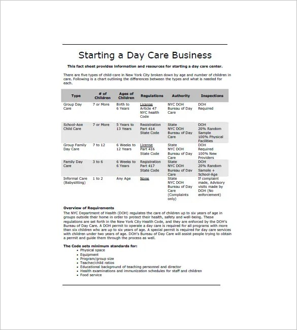 Daycare Business Plan Template \u2013 12+ Free Word, Excel, PDF Format - Business Plans Template