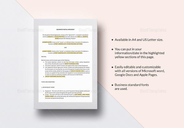 Editable Rental Agreement cv01billybullockus – Editable Rental Agreement