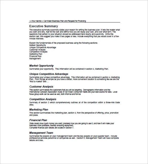 Car Wash Business Plan Template \u2013 14+ Free Word, Excel, PDF Format