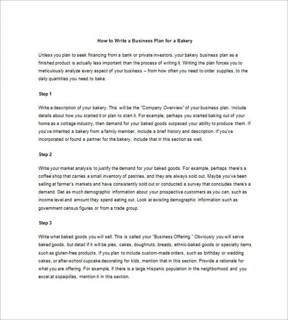 Bakery Business Plan Sample Doc – Bakery Business Plan Template