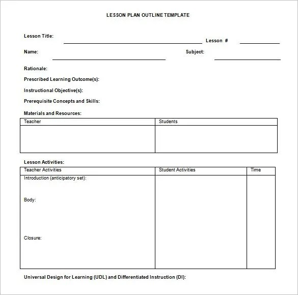 Lesson Plan Outline Template \u2013 12+ Free Sample, Example, Format - teacher lesson plan