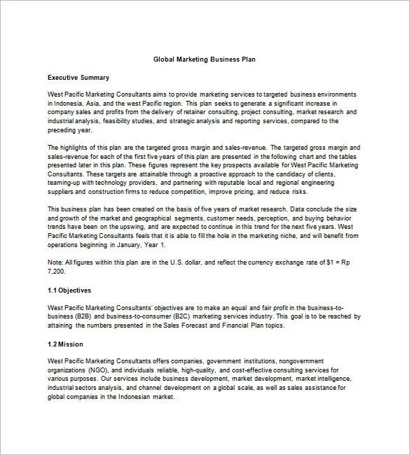 Marketing Business Plan Template \u2013 8+ Free Word, Excel, PDF Format - marketing business plan template