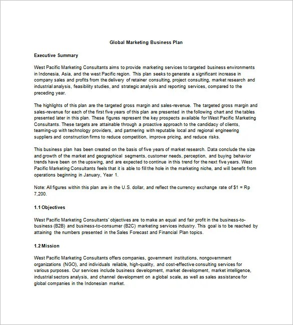 Marketing Business Plan Template - 20+ Free Sample, Example Format - business plan example