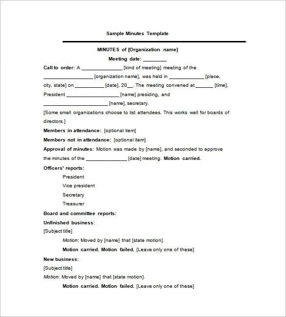 27+ Sample Minutes of Meeting Templates - DOC, PDF Free  Premium
