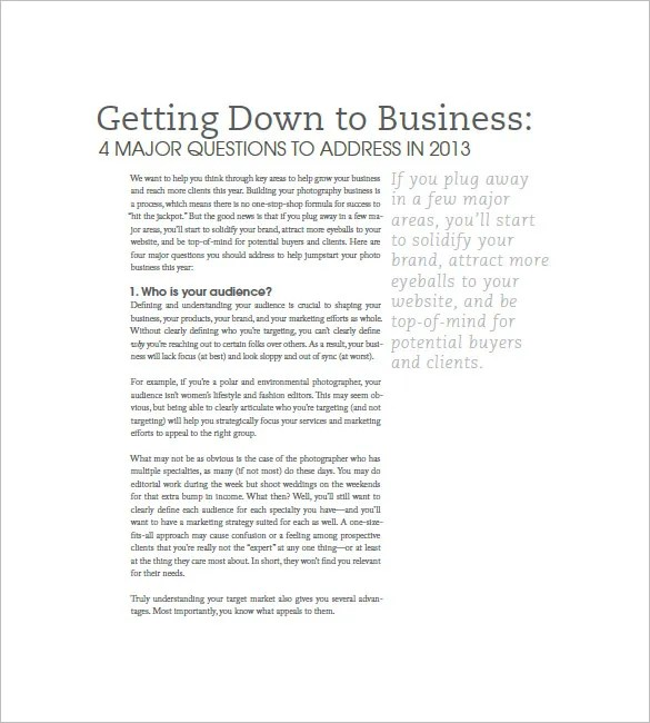 Photography Business Plan Template - 11+ Free Word, Excel, PDF - Photography Business Plan