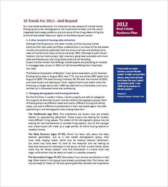 Real Estate Business Plan Template \u2013 13+ Free Word, Excel, PDF
