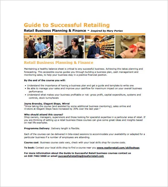 Retail Business Plan Template \u2013 13+ Free Word, Excel, PDF Format