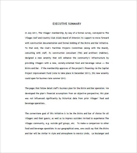 Bar Business Plan Template \u2013 11+ Free Word, Excel, PDF Format
