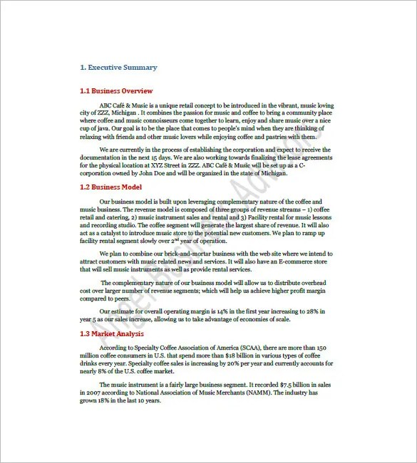 Coffee Shop Business Plan Template u2013 13+ Free Word, Excel, PDF - retail business plan template