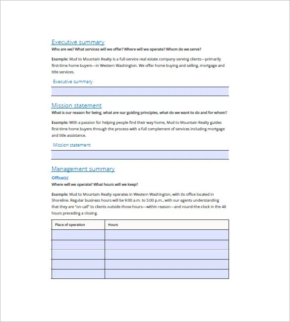 Real Estate Business Plan Template \u2013 13+ Free Word, Excel, PDF