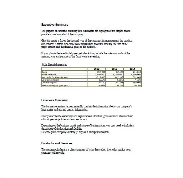 Simple Business Plan Template \u2013 20+ Free Sample, Example Format