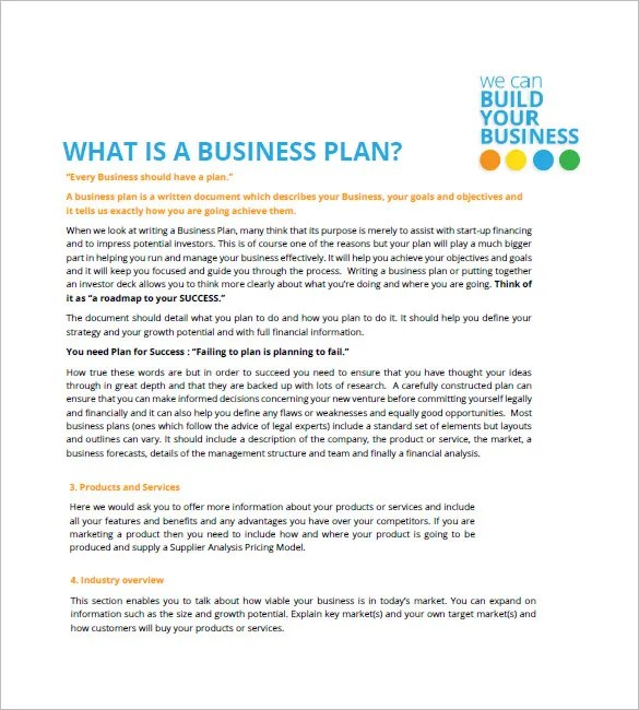 Small Business Plan Template \u2013 12+ Free Word, Excel PDF Format