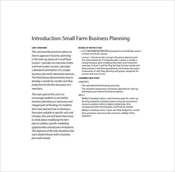 Farm Business Plan Template - 12+ Free Word, Excel, PDF Format - farm business plan template