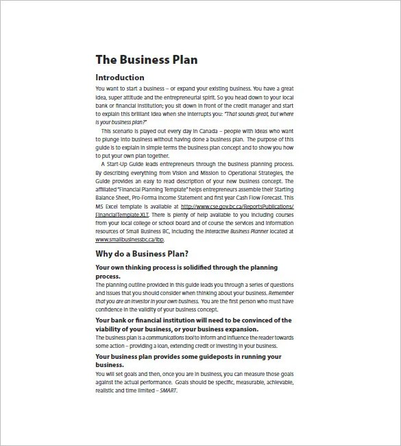 Startup Business Plan Template - 18+ Free Word, Excel, PDF Format - startup business plan template