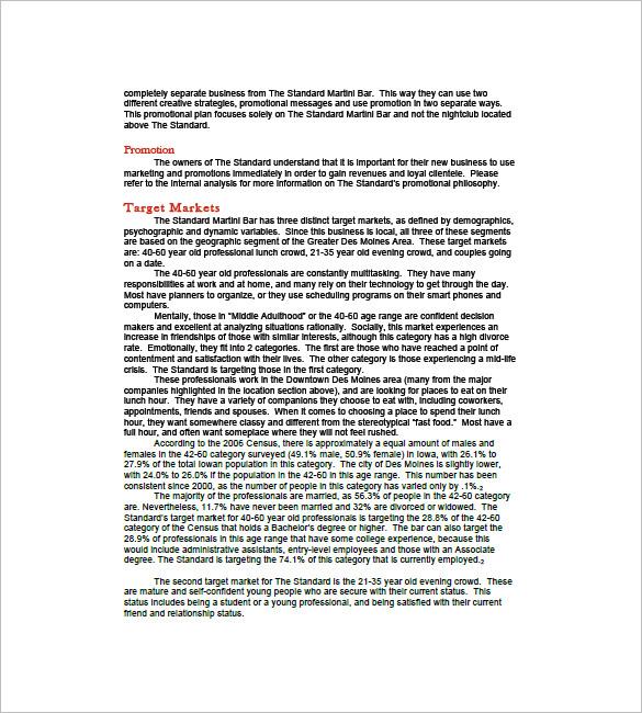 Bar Business Plan Template \u2013 11+ Free Word, Excel, PDF Format - professional business plan