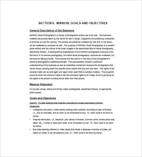Photography Business Plan Template - 12+ Free Sample, Example - business plans sample