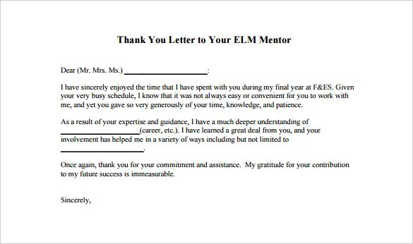 Thank You Letter To Mentor \u2013 9+ Free Word, Excel, PDF Format