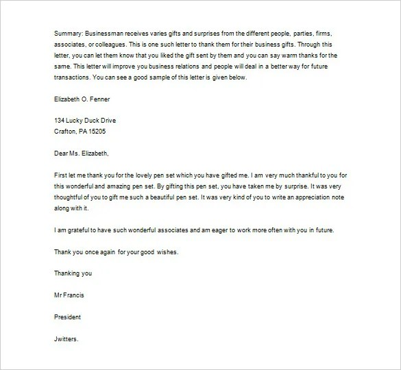 Sample Business Thank You Letter \u2013 12+ Free Word, Excel, PDF Format