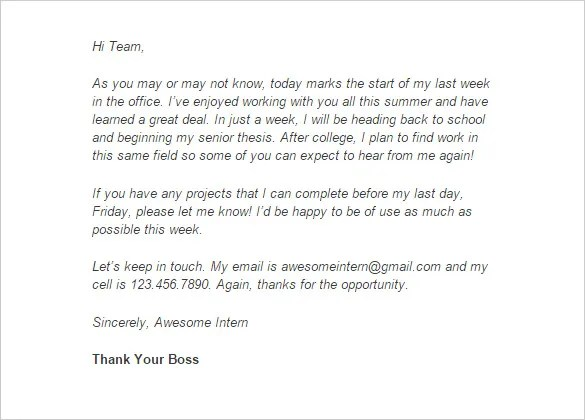 Internship Thank You Letter \u2013 9+ Free Word, Excel, PDF Format