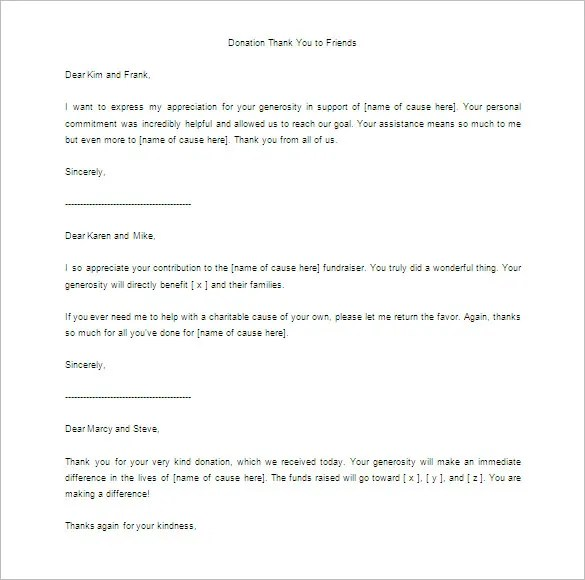 Donor Thank You Letter Template u2013 10+ Free Word, Excel, PDF Format - thank you for your support letter