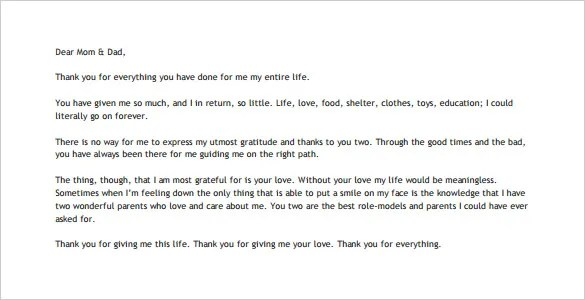 Thank You Letter to Your Parents \u2013 10+ Free Word, Excel, PDF Format