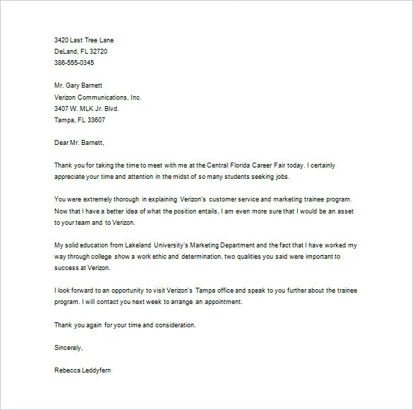 Thank You Letter to Recruiter \u2013 10+ Free Word, Excel, PDF Format
