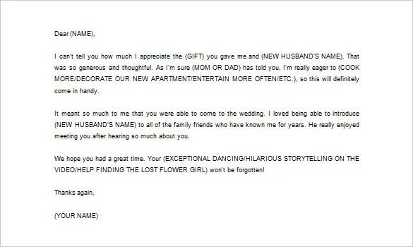 Wedding Thank You Letter \u2013 11+ Free Word, Excel, PDF Format Download