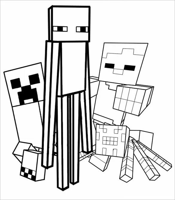 16+ Minecraft Coloring Pages - PDF, PSD, PNG Free  Premium Templates