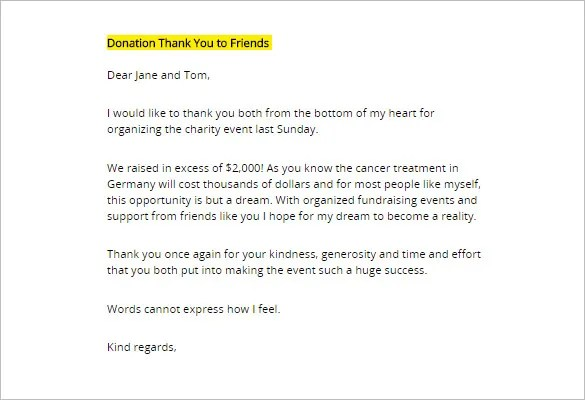 sample thank you letter for donation sample thank you letter for - thank you letter for donations