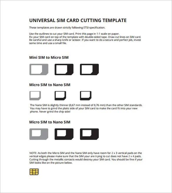 Micro Sim Card Template - 12+ Free Printable Sample, Example - micro sim template