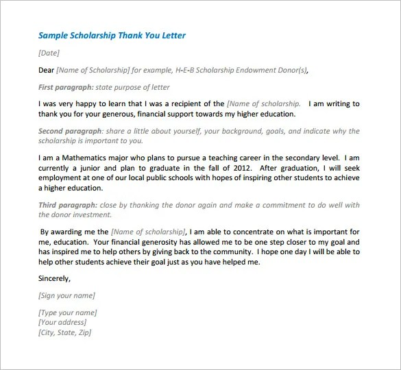 Scholarship Thank You Letter \u2013 11+ Free Sample, Example Format