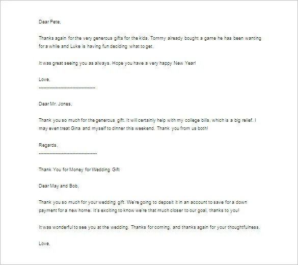 Thank You Letter For Gift \u2013 11+ Free Sample, Example Format Download - free sample thank you letter