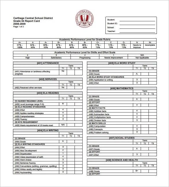Progress Report Card Template u2013 9+ Free Printable Sample, Example - progress reports templates