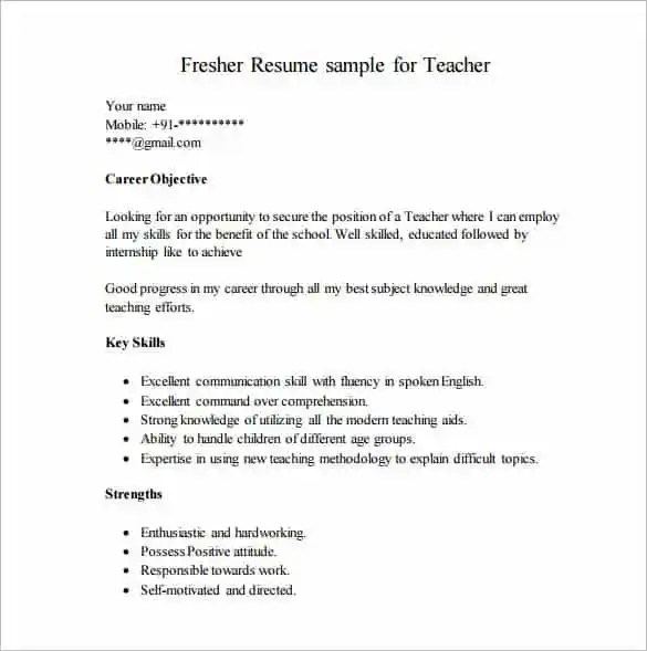 Resume Template for Fresher - 10+ Free Word, Excel, PDF Format - sample resume format for freshers