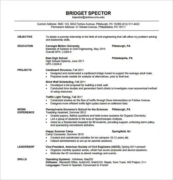 resume template for fresher 10 free word excel pdf format sample