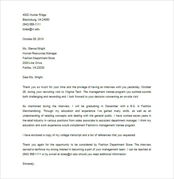 Thank You Letter After Interview \u2013 12+ Free Sample, Example Format - Sample Thank You Letter After Interview