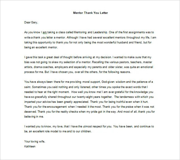 Thank You Letter To Mentor \u2013 9+ Free Sample, Example Format Download