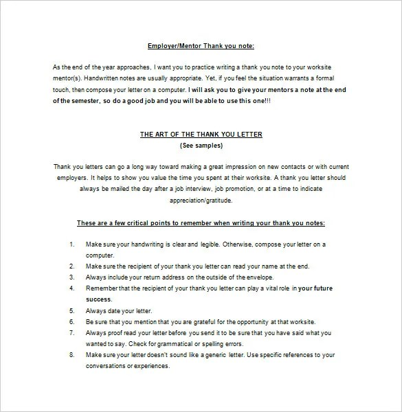 Thank You Letter To Mentor \u2013 9+ Free Sample, Example Format Download - thank you letter sample 2