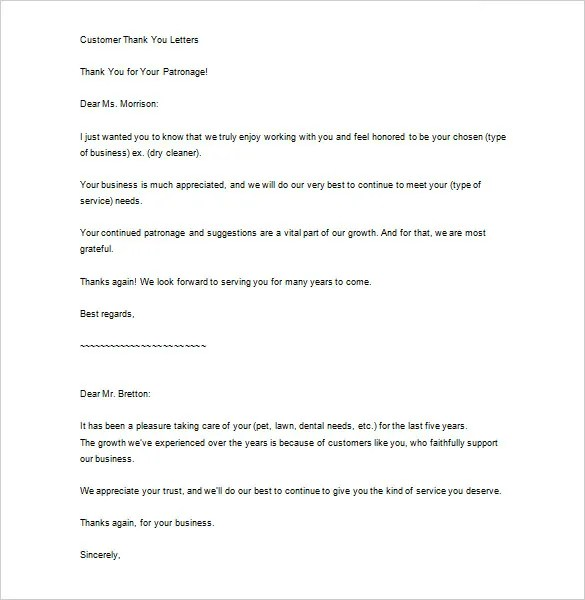 Sample Business Thank You Letter u2013 10+ Free Sample, Example Format - sample thank you for your business letter