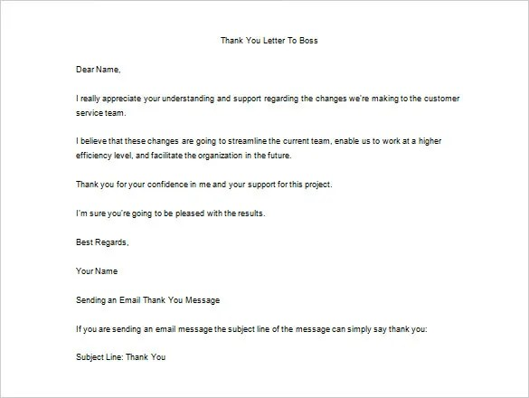 23+ Thank You Letter To Boss Templates \u2013 Free Sample, Example Format