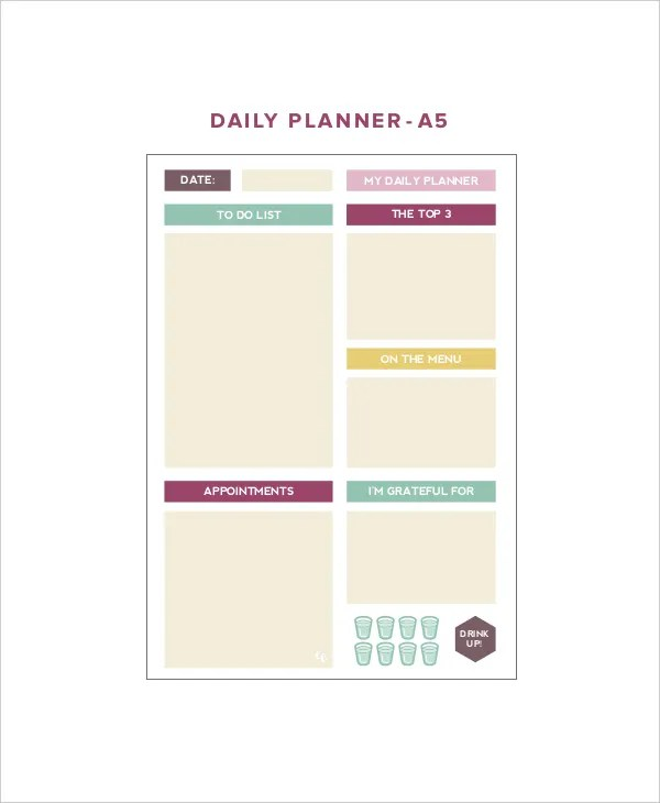 Sample Daily Planner Template quantweb