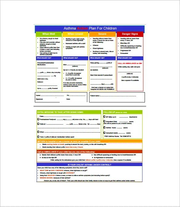 9+ Asthma Action Plan Template -DOC, Excel, PDF Free  Premium