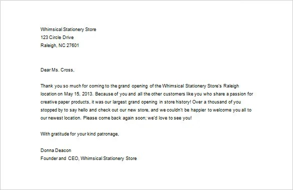 Business Thank You Letter \u2013 11+ Free Sample, Example Format Download