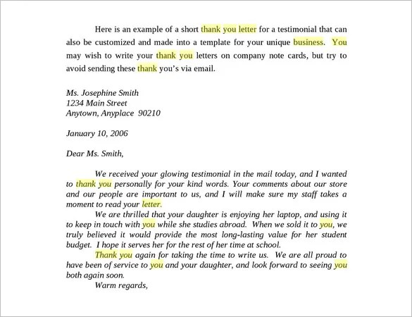 Business Thank You Letter \u2013 11+ Free Sample, Example Format Download - thank you for your business email