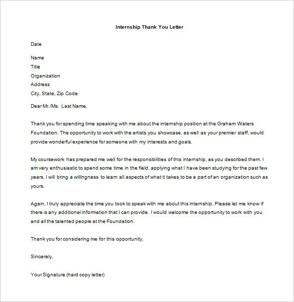 14+ Internship Thank You Letter Templates - PDF, DOC Free - internship thank you letter