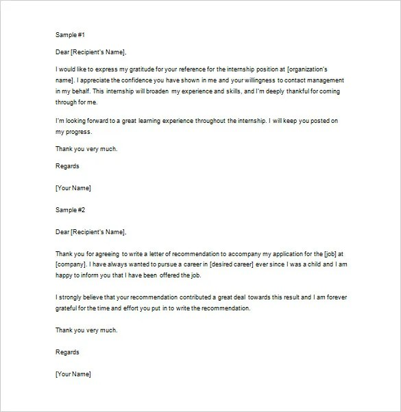 Thank You Letter For Recommendation \u2013 9+ Free Sample, Example Format - Thank You Letter For Reference