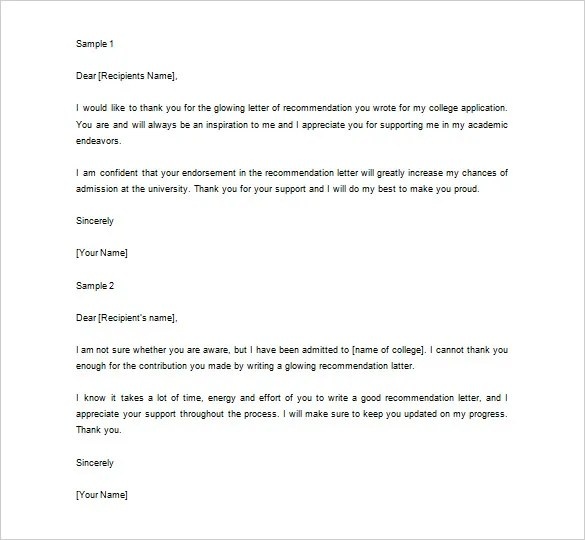 Thank You Letter For Recommendation \u2013 9+ Free Sample, Example Format
