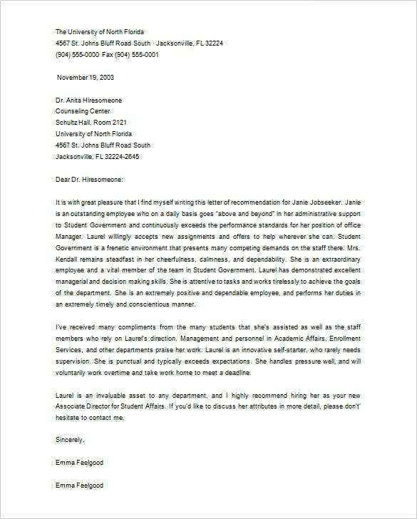 letter of recommendation for grad school from employer